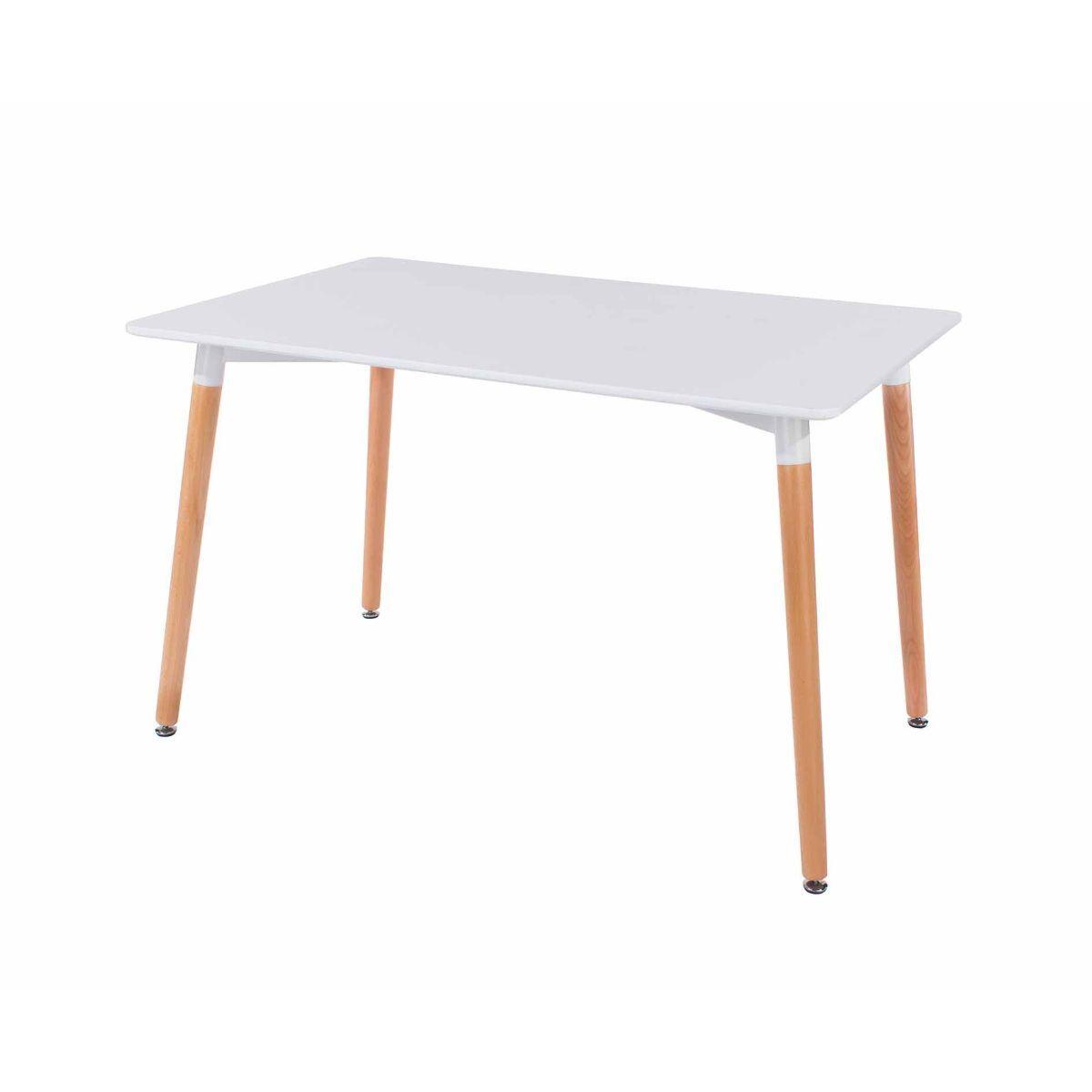 Aspen Rectangular Table With Wooden Legs White
