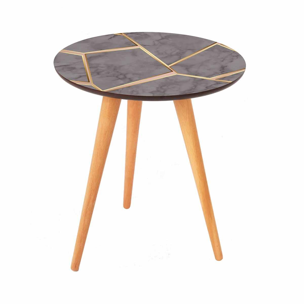 Inbox Round Side Table Grey Marble