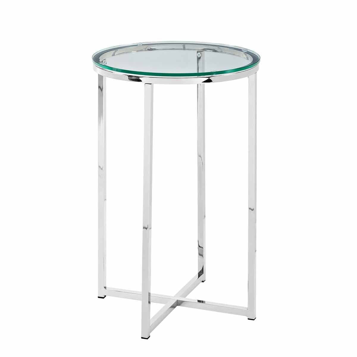 Vigo Glam Round Side Table Chrome