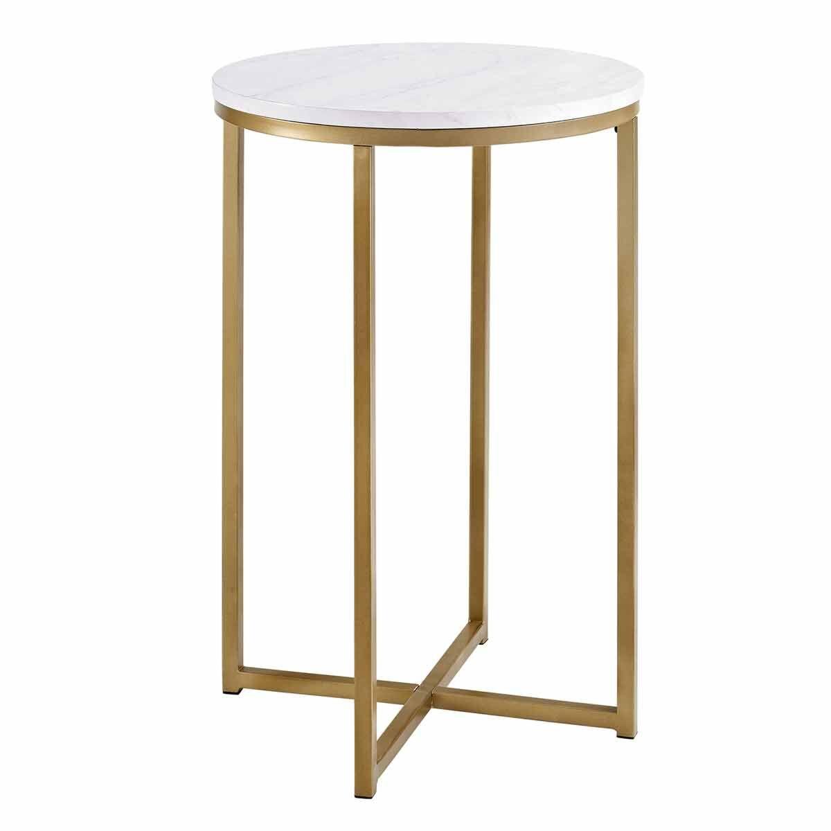 Vigo Glam Round Side Table White Marble