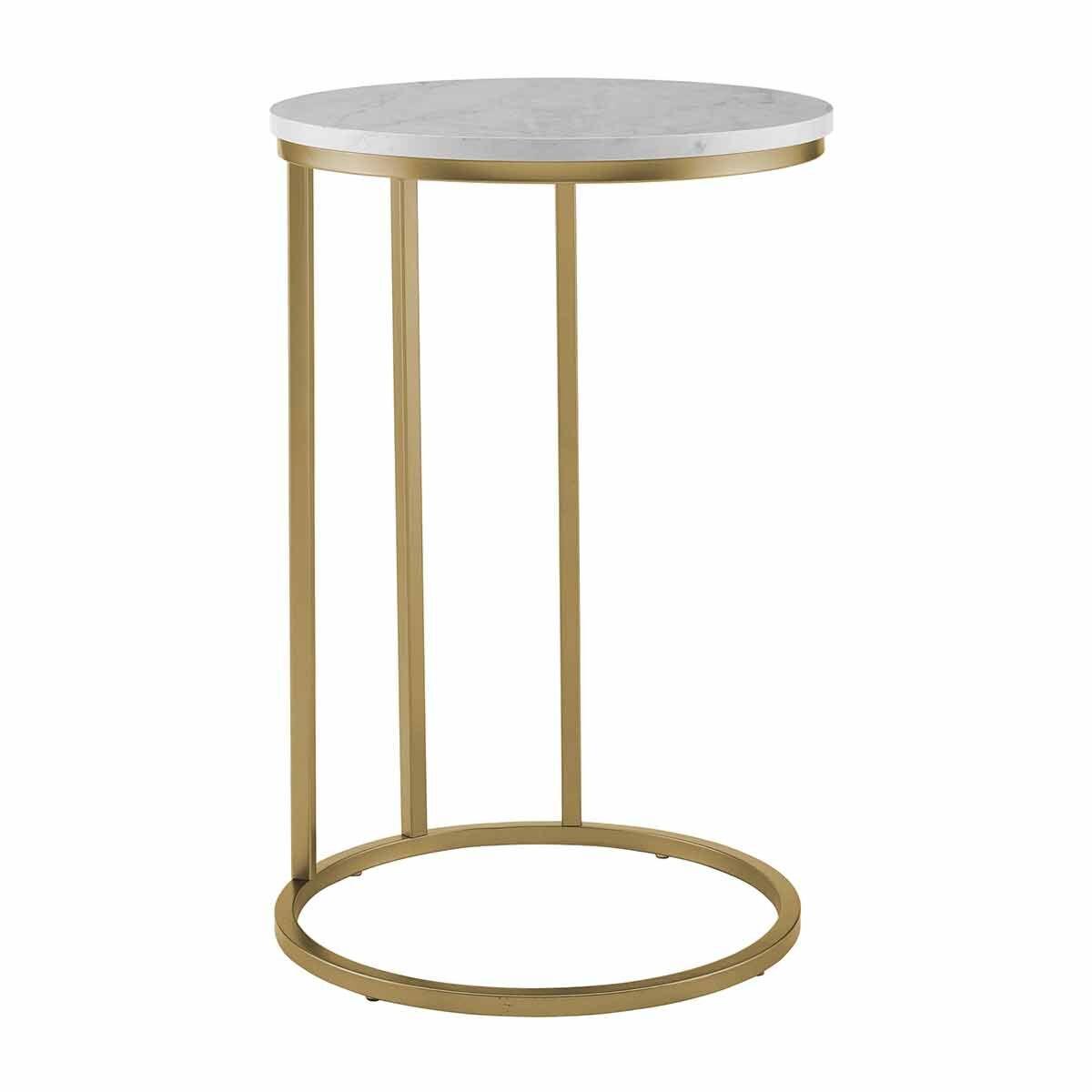 Cadiz Modern Round End Table White Marble