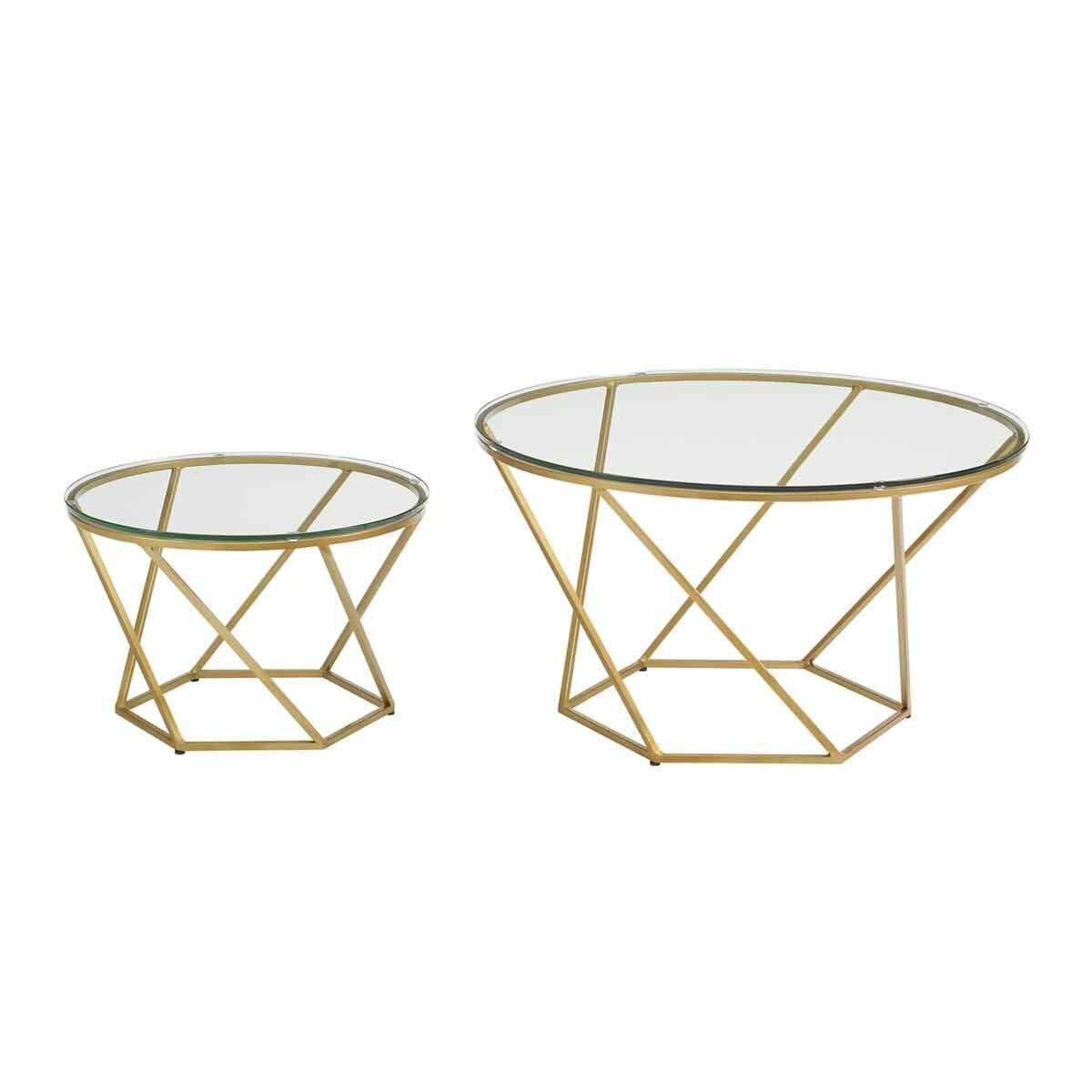Pamplona Modern Nesting Tables Set of 2 Gold