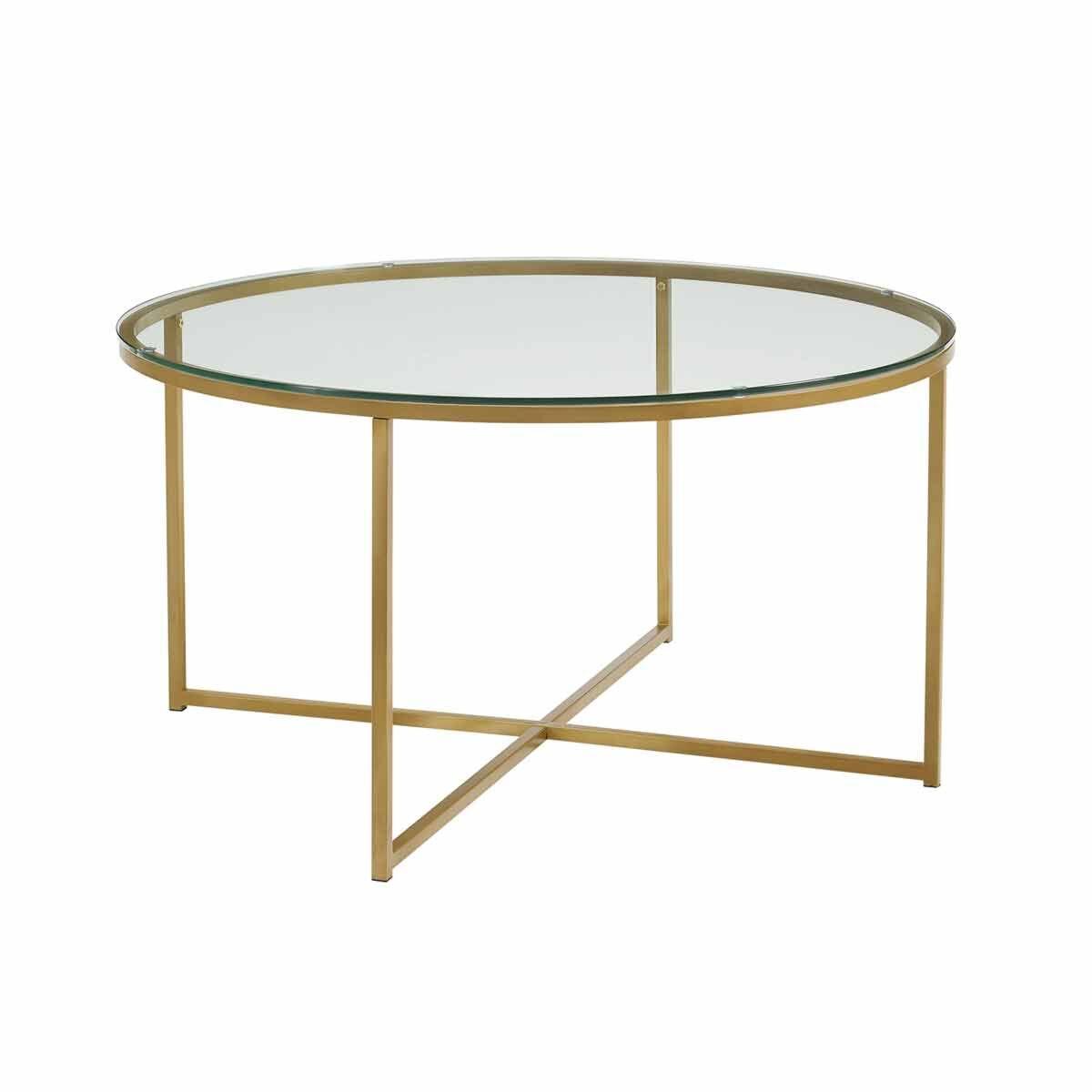 Zaragoza Mid Century Modern Round Coffee Table Gold