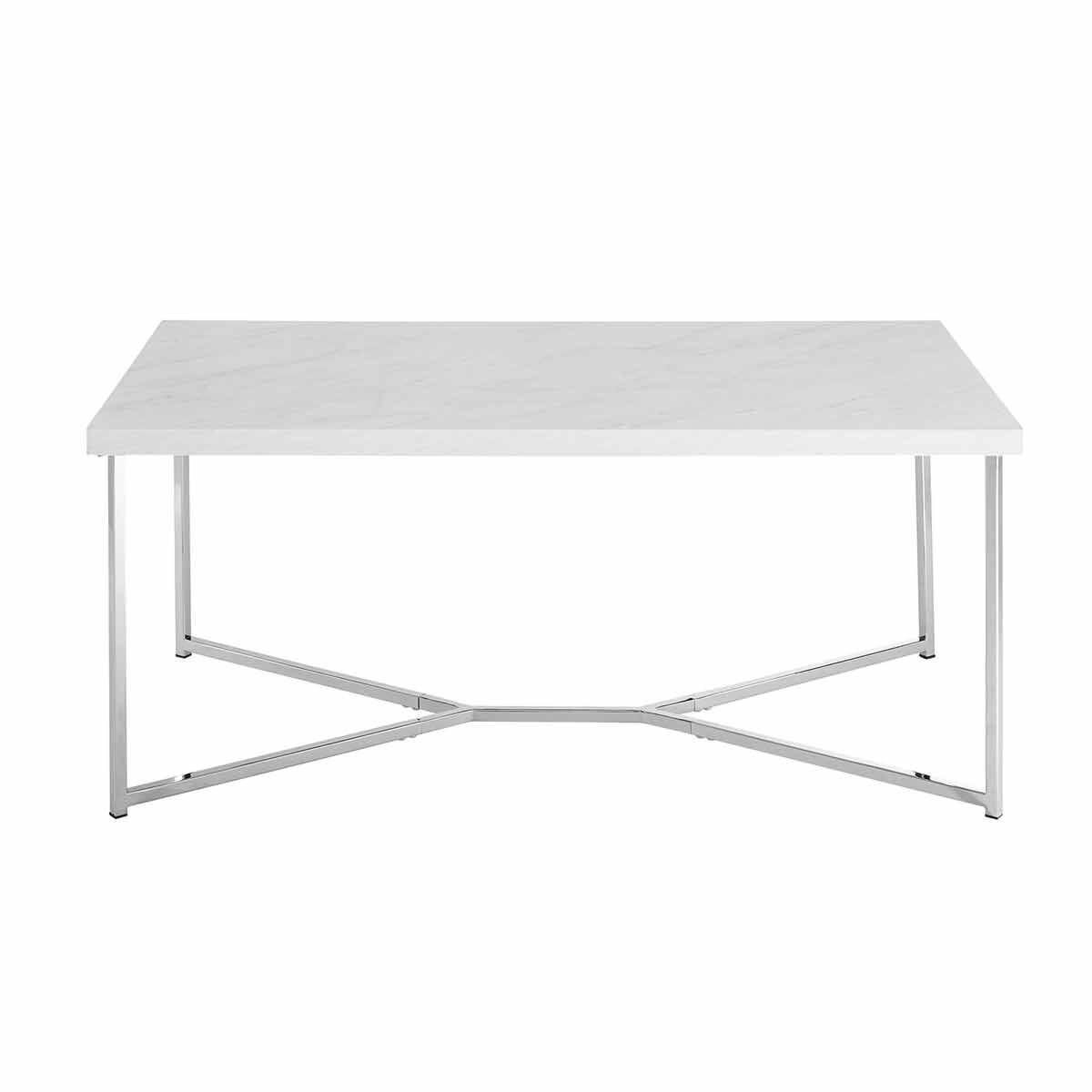 Lugo Mid Century Modern Rectangular Coffee Table Chrome