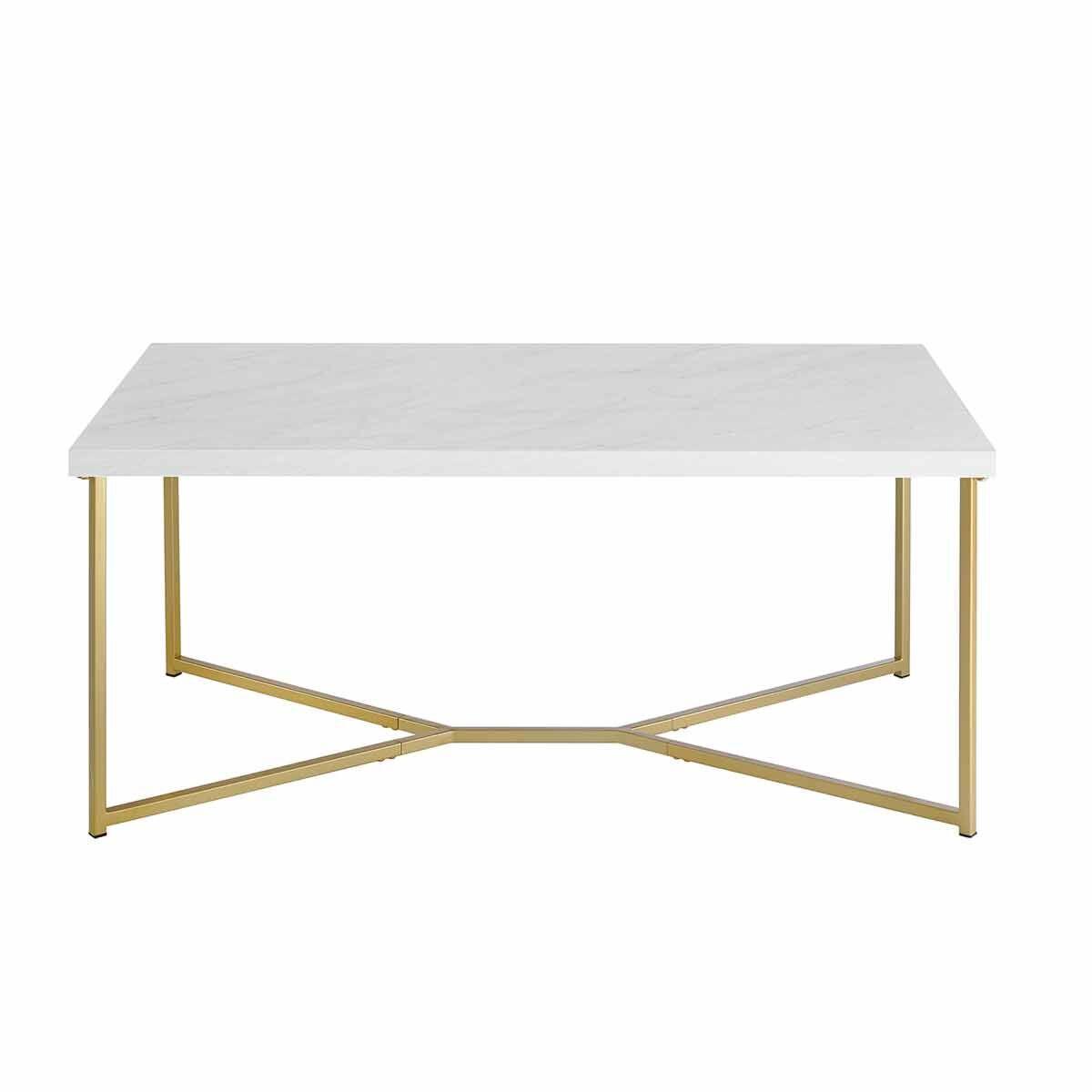 Lugo Mid Century Modern Rectangular Coffee Table Gold