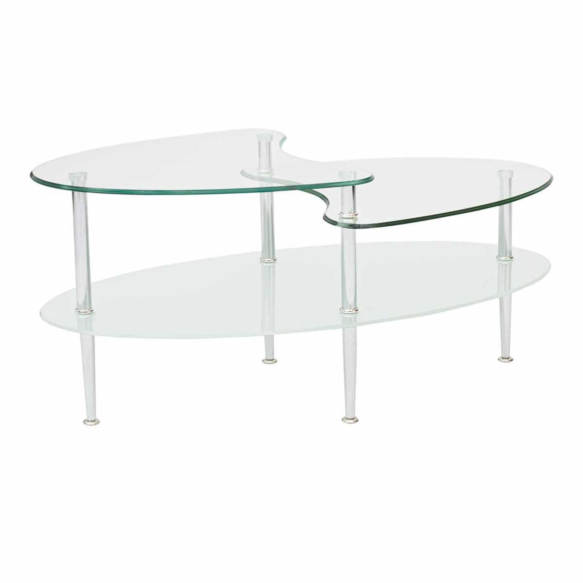 Lleida Mid Century Modern Glass Coffee Table