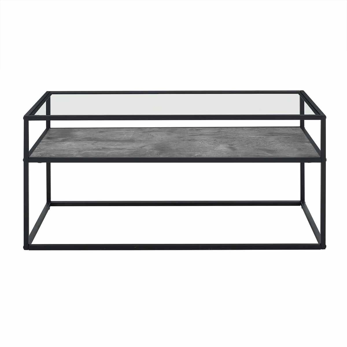 Jaen Modern Glass Coffee Table with Reversible Shelf White Marble