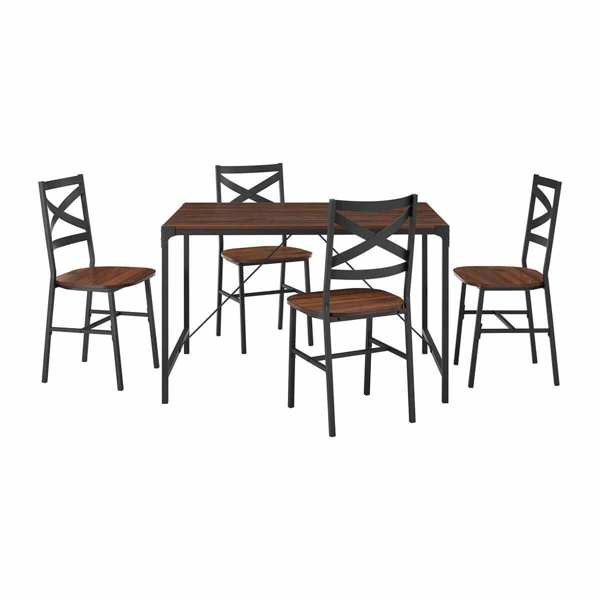 Logrono 5 Piece Angle Iron Dining Set