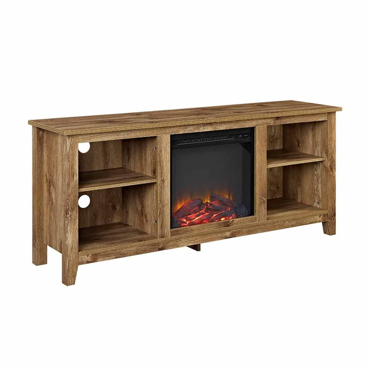 Ourense Rustic Farmhouse Tv Stand With Fireplace Wood