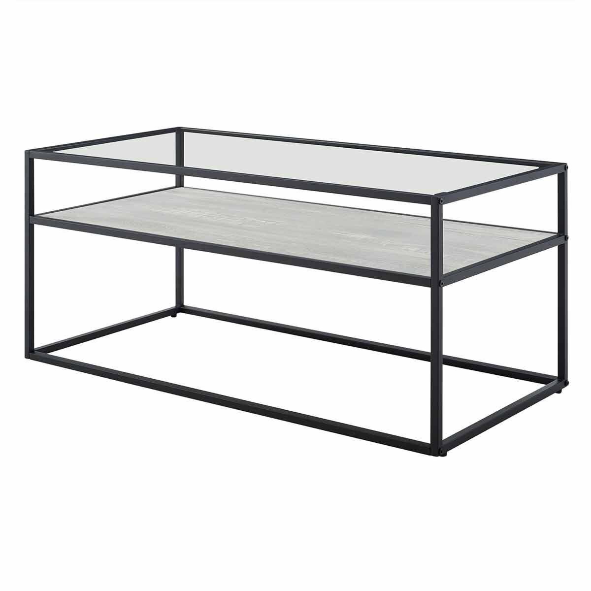 Jaen Modern Glass Coffee Table with Reversible Shelf Wood