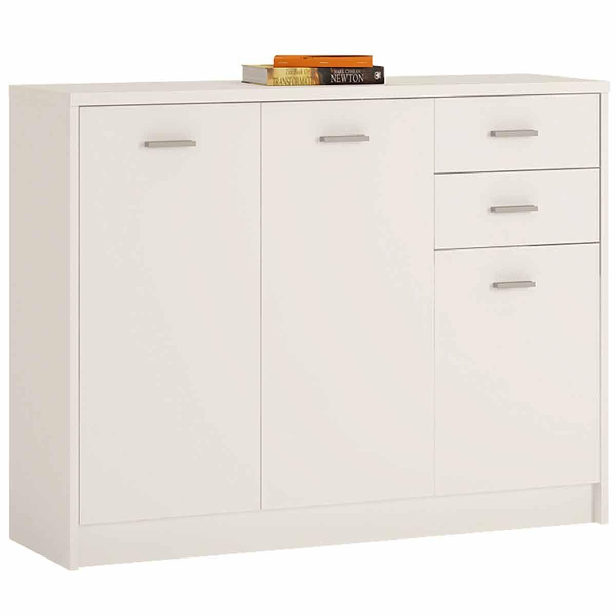 Belgravia 3 Door Wide Cupboard with Drawers Pearl White