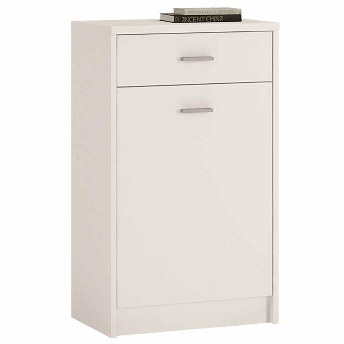 Belgravia 1 Door Cupboard with Drawer Pearl White