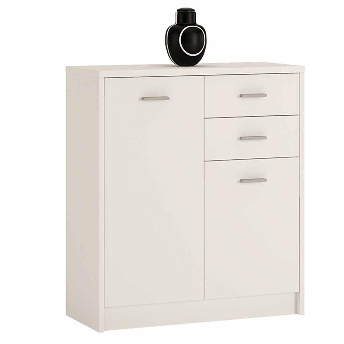Belgravia 2 Door Cupboard with Drawers Pearl White
