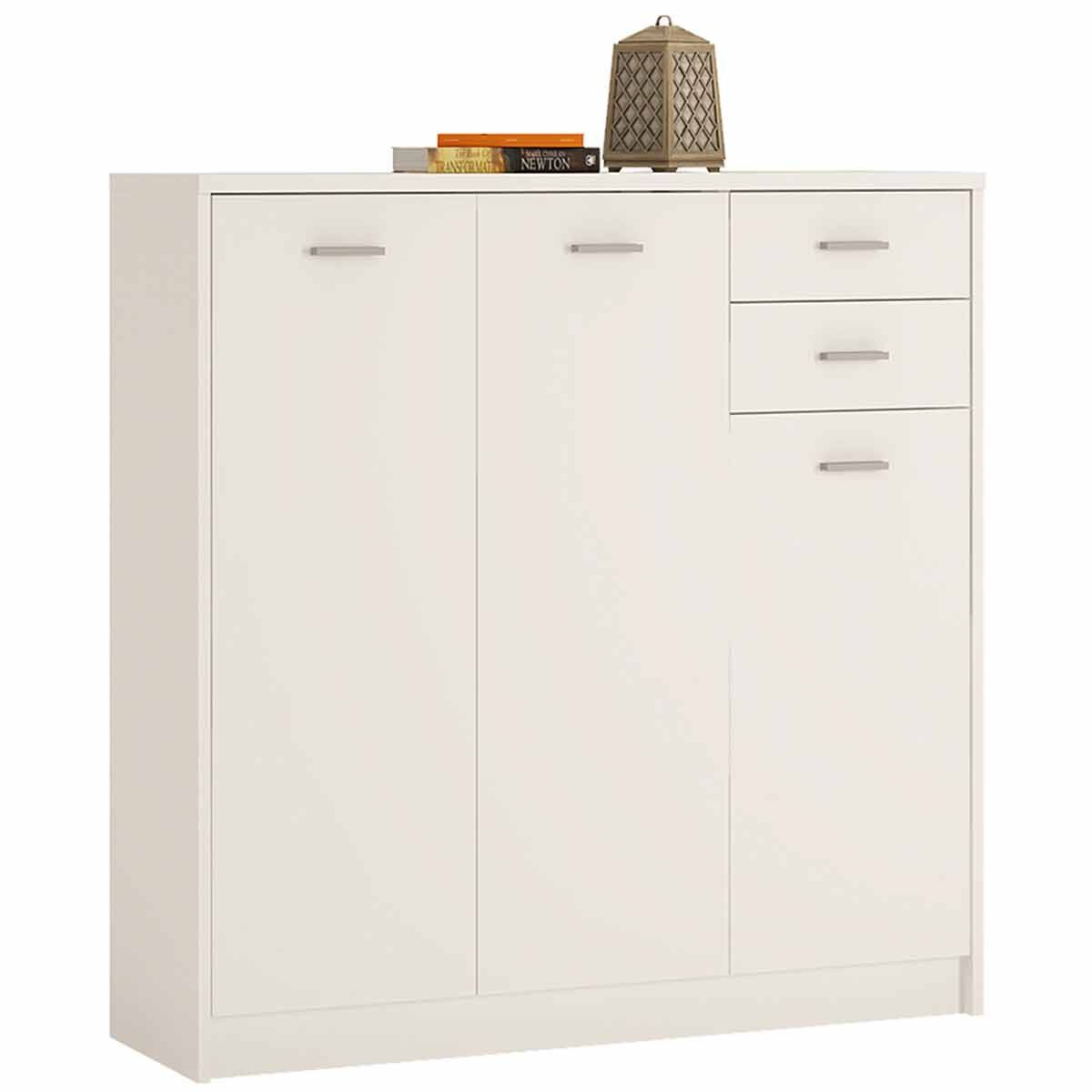 Belgravia Tall 3 Door Cupboard with Drawers Pearl White