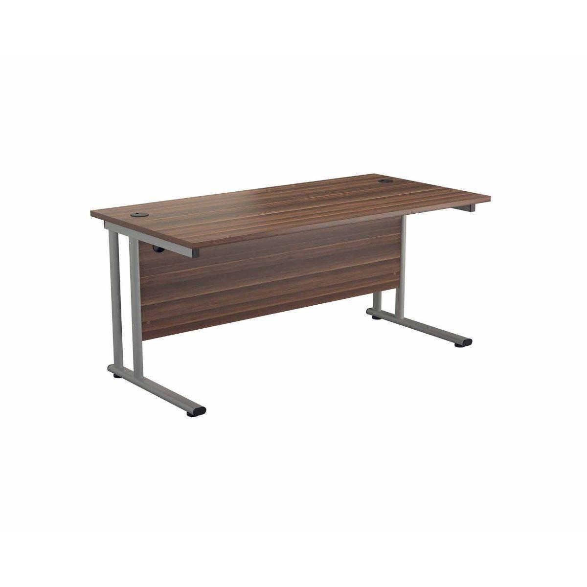 TC Office Start Silver Cantilever Frame Desk 1600x800mm Dark Walnut