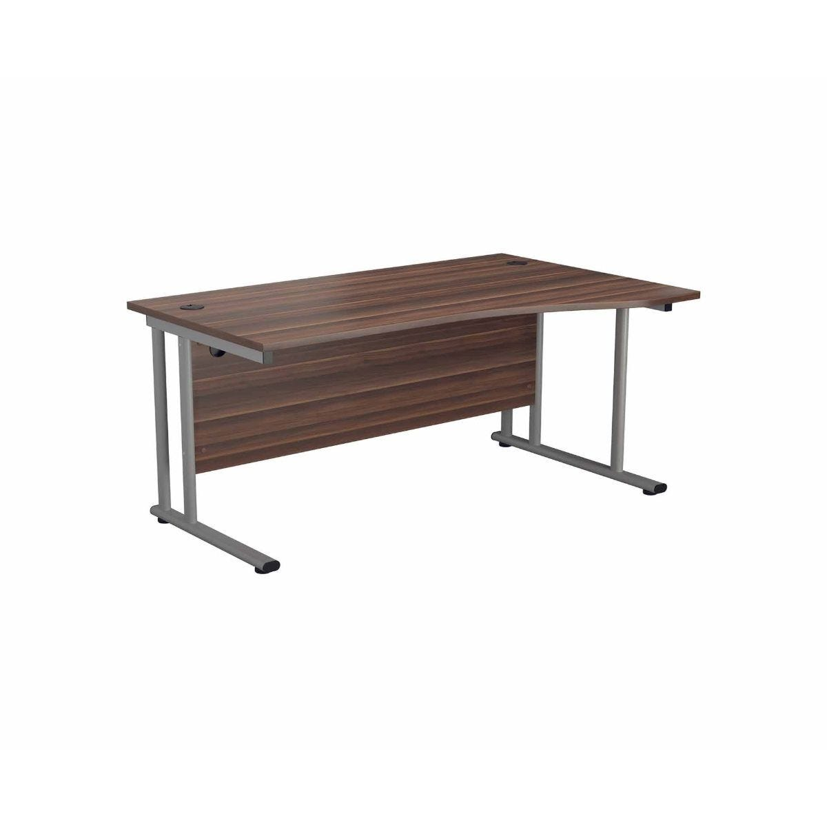 TC Office Start Silver Cantilever Frame Right Hand Wave Desk 1600x1000mm Dark Walnut