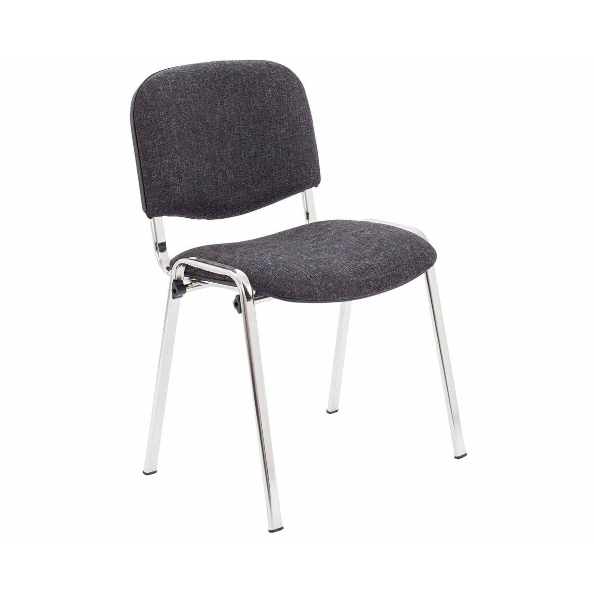 TC Office Club Stacking Meeting Chair with Chrome Frame Charcoal