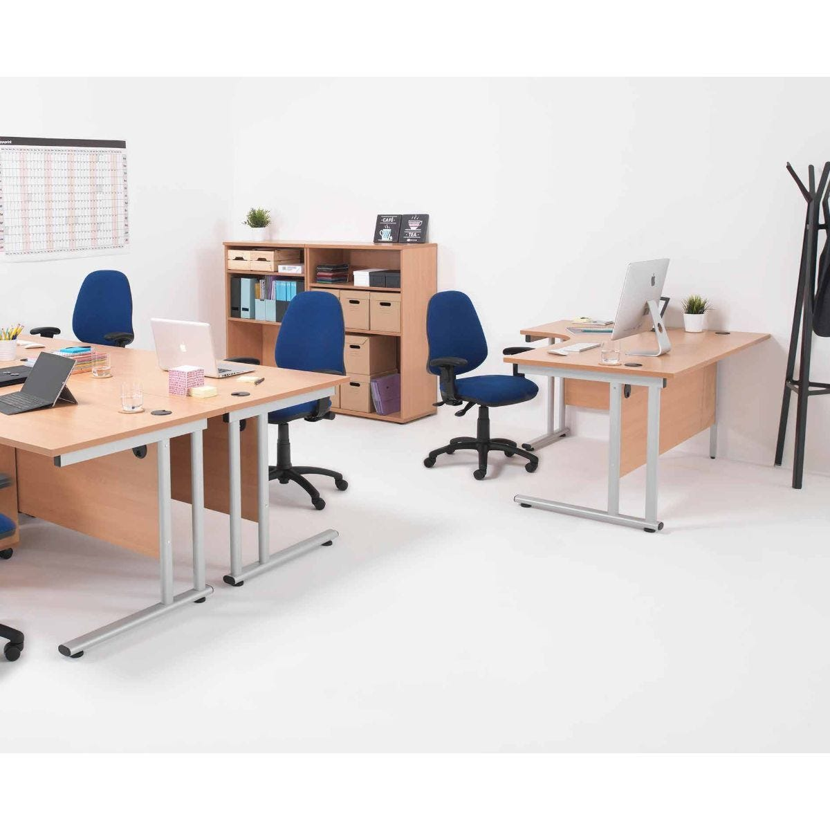 TC Office Start Silver Cantilever Frame Right Hand Crescent Desk 1600x1200mm