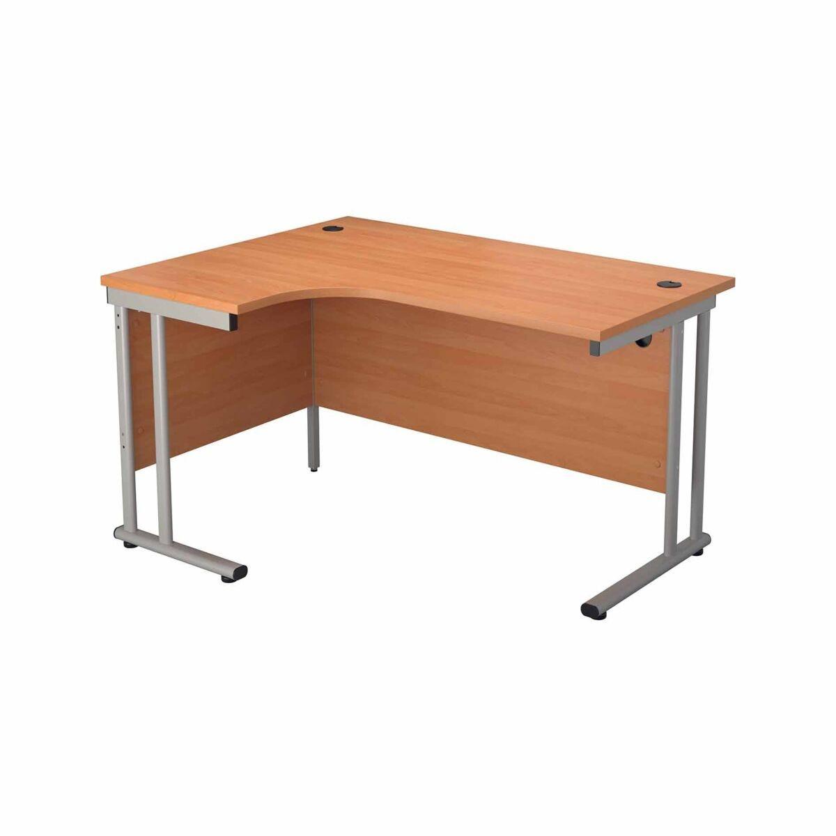TC Office Start Silver Cantilever Frame Left Hand Crescent Desk 1600x1200mm