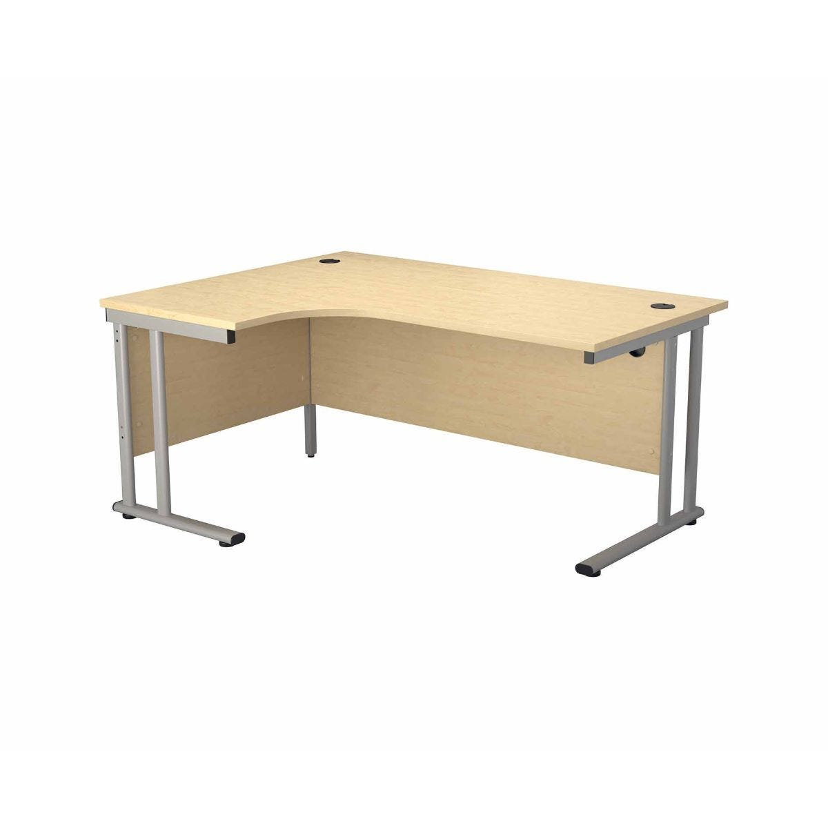 TC Office Start Silver Cantilever Frame Left Hand Crescent Desk 1800x1200mm Maple