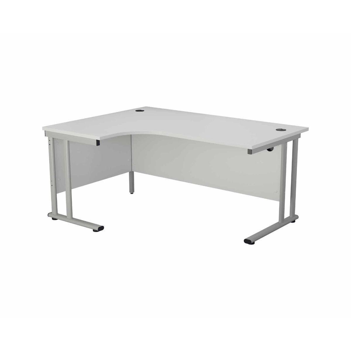 TC Office Start Silver Cantilever Frame Left Hand Crescent Desk 1800x1200mm White