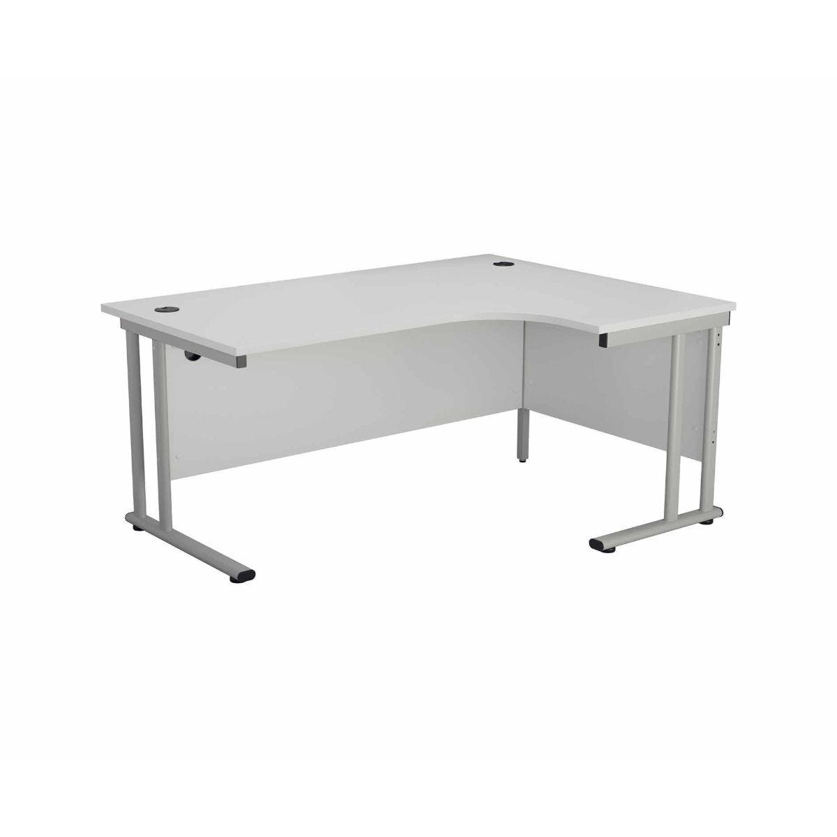 TC Office Start Silver Cantilever Frame Right Hand Crescent Desk 1800x1200mm White