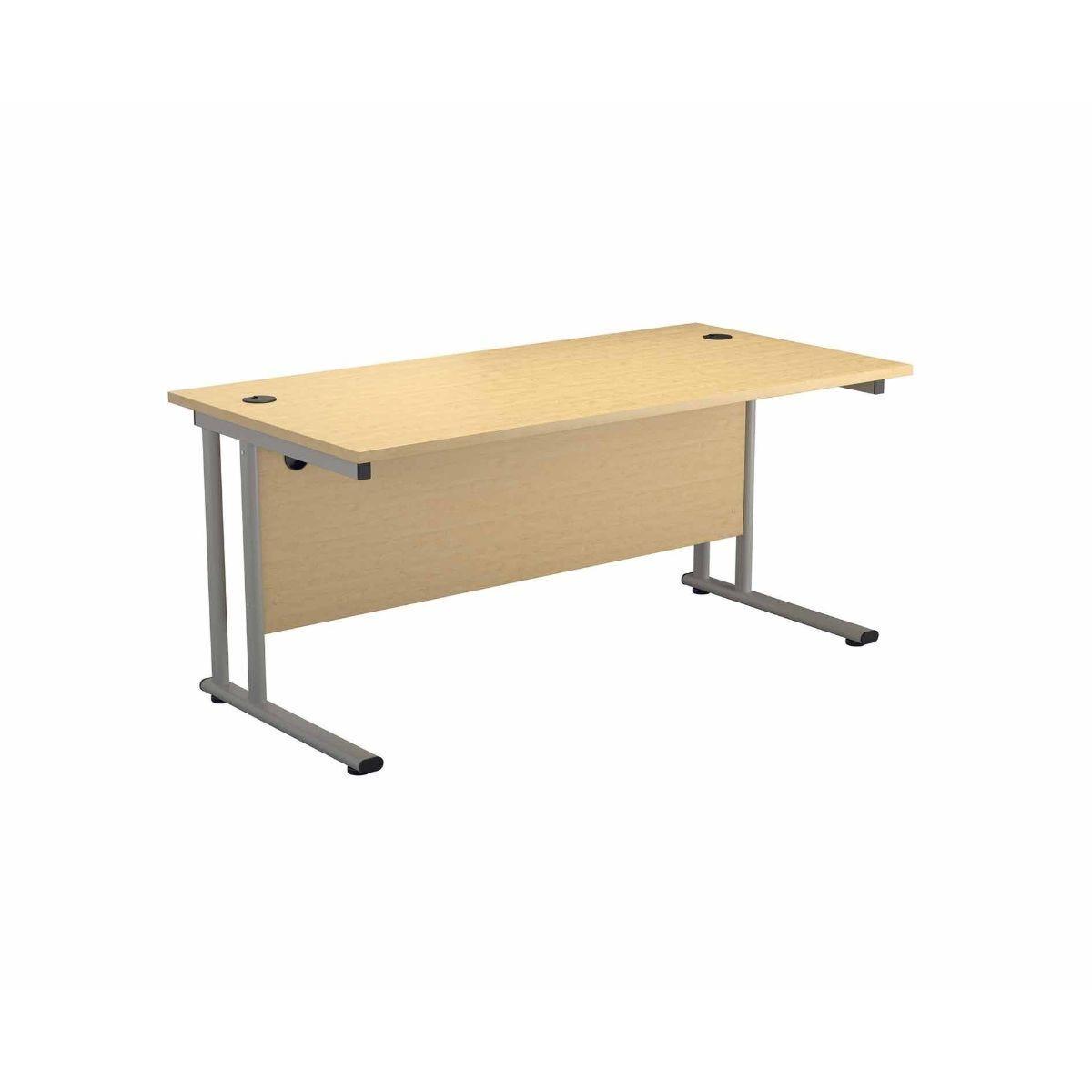 TC Office Start Silver Cantilever Frame Desk 1200x800mm Maple