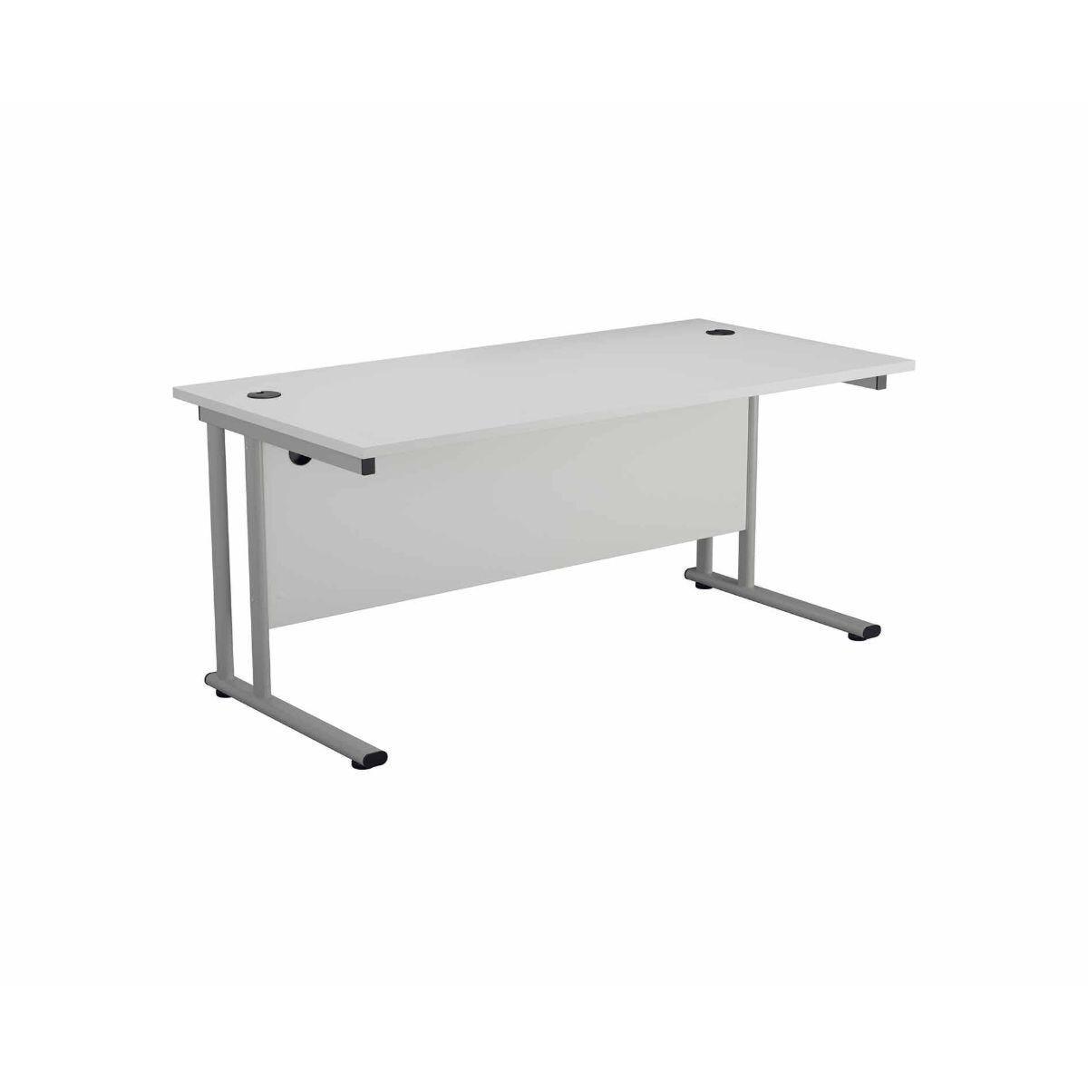 TC Office Start Silver Cantilever Frame Desk 1800x800mm White