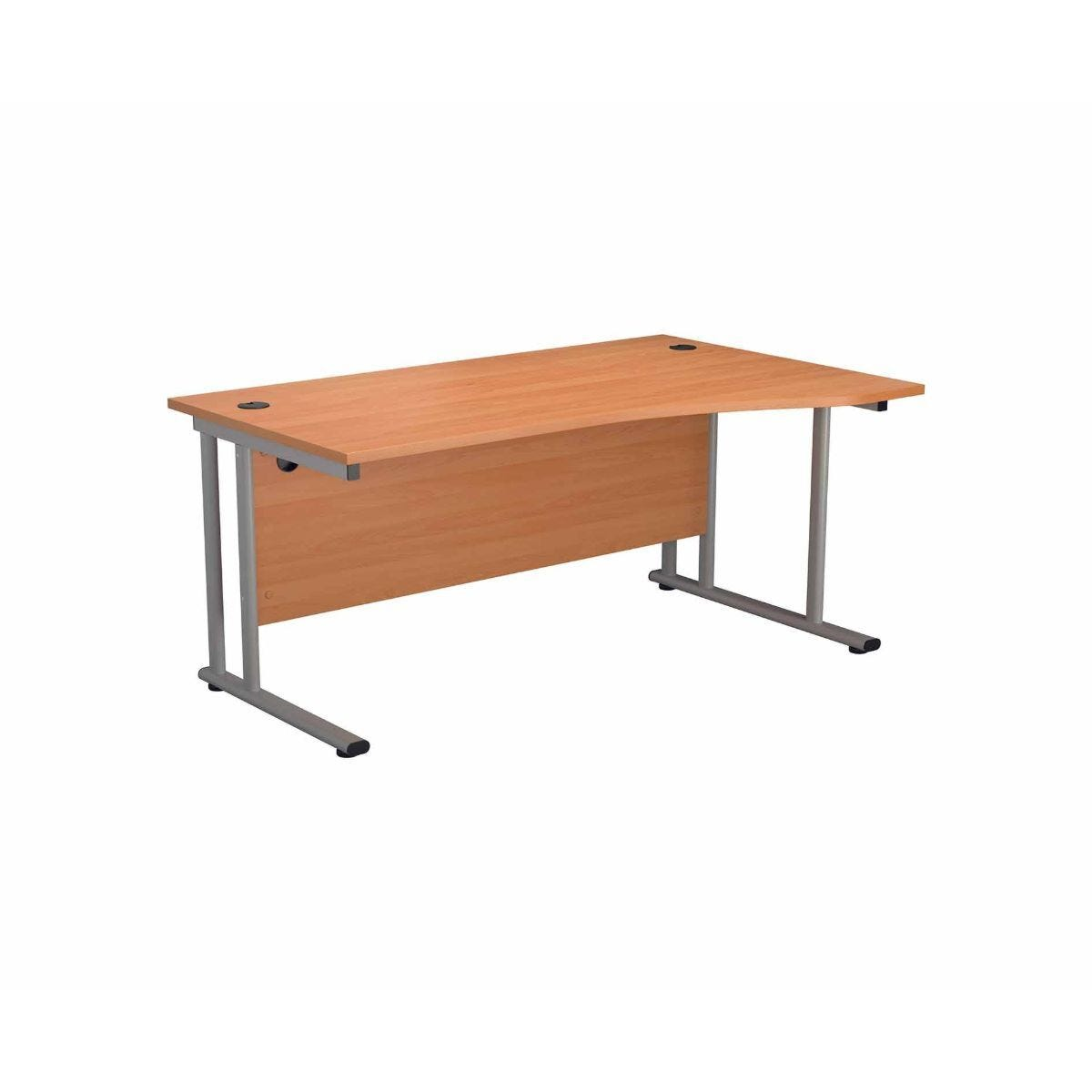 TC Office Start Silver Cantilever Frame Right Hand Wave Desk 1600x1000mm Beech