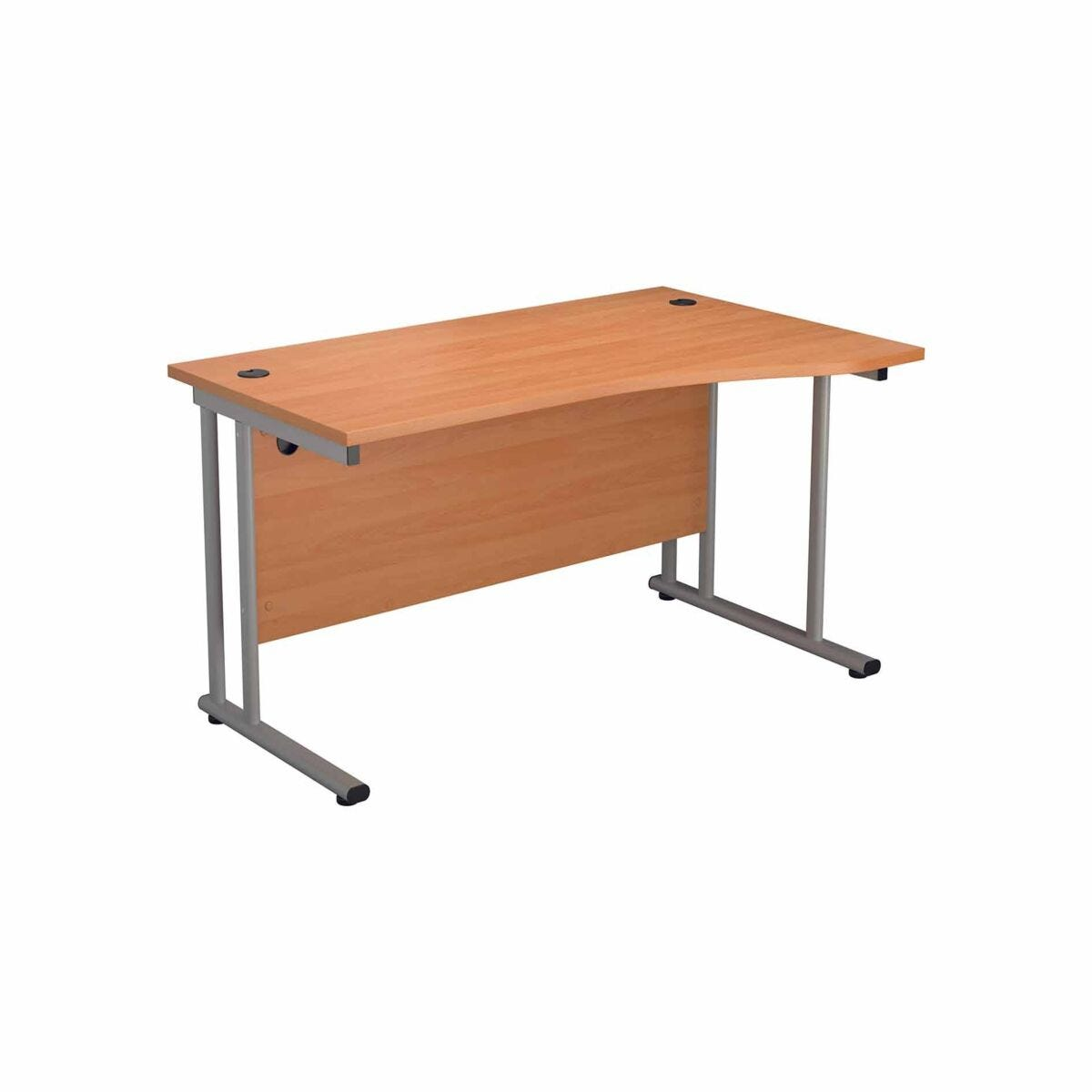 TC Office Start Silver Cantilever Frame Right Hand Wave Desk 1600x1000mm