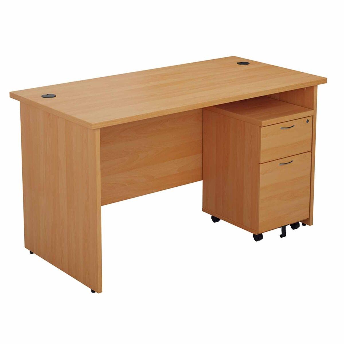 TC Office Panel End Desk and 2 Drawer Mobile Pedestal Bundle 1400 x 800mm