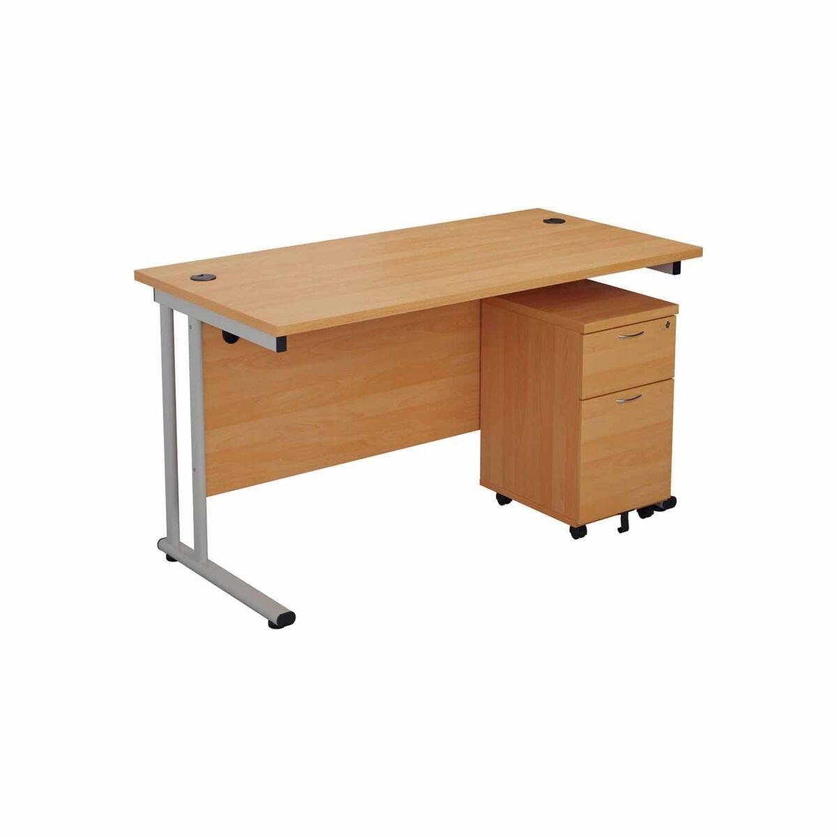 TC Office Start Silver Cantilever Frame Desk and 2 Drawer Mobile Pedestal Bundle 1400x800mm