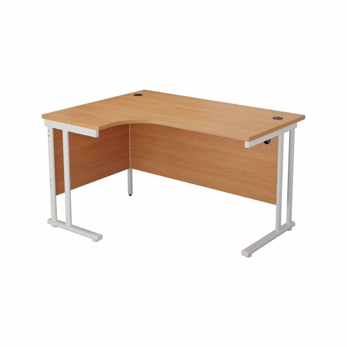 TC Office Start White Cantilever Frame Left Hand Crescent Desk 1600x1200mm