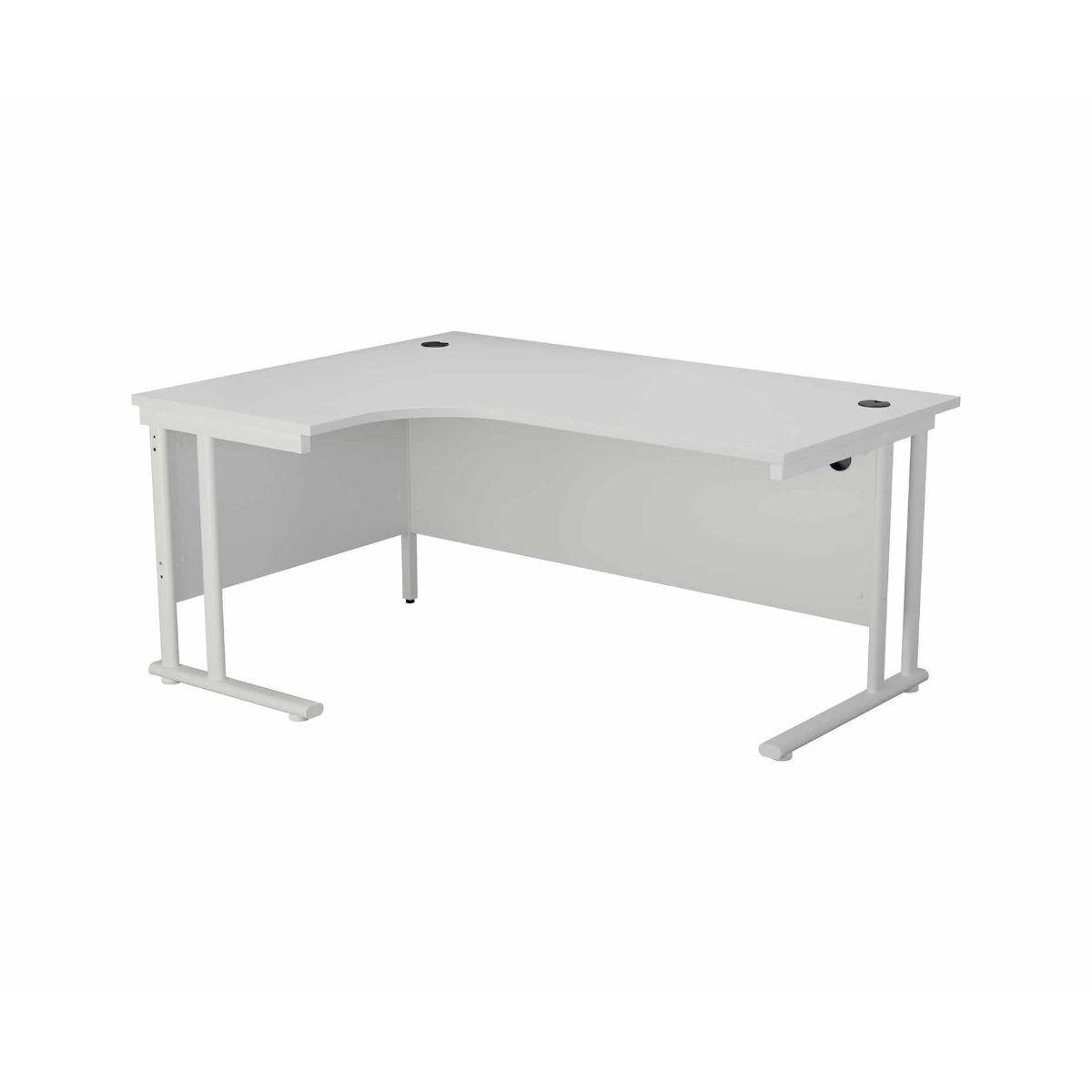 TC Office Start White Cantilever Frame Left Hand Crescent Desk 1600x1200mm White