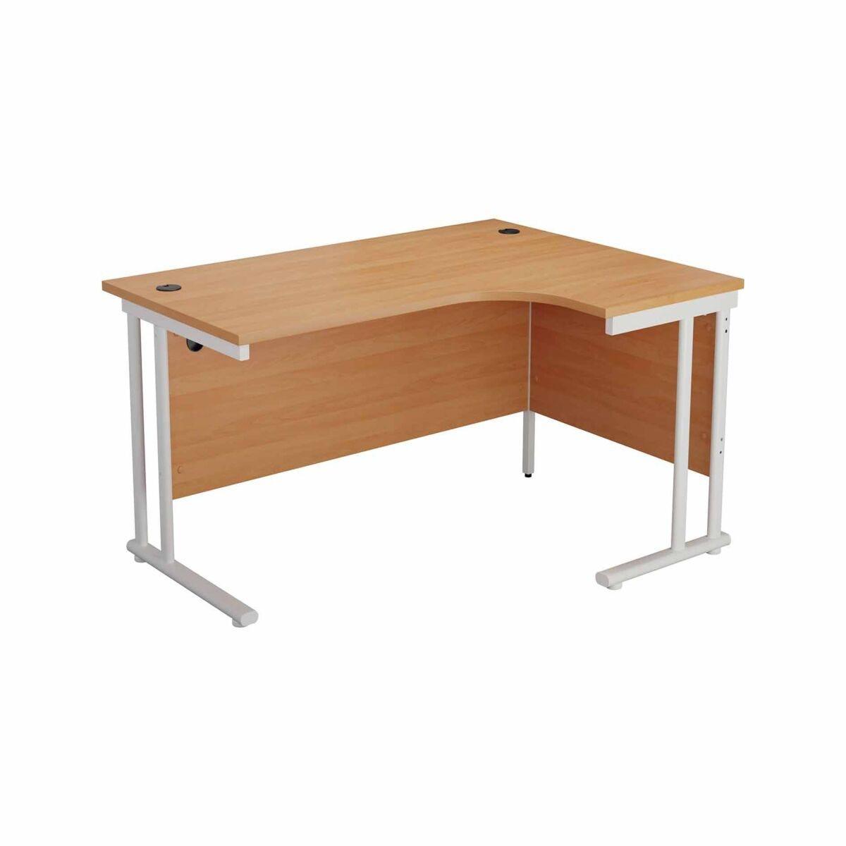 TC Office Start White Cantilever Frame Right Hand Crescent Desk 1600x1200mm