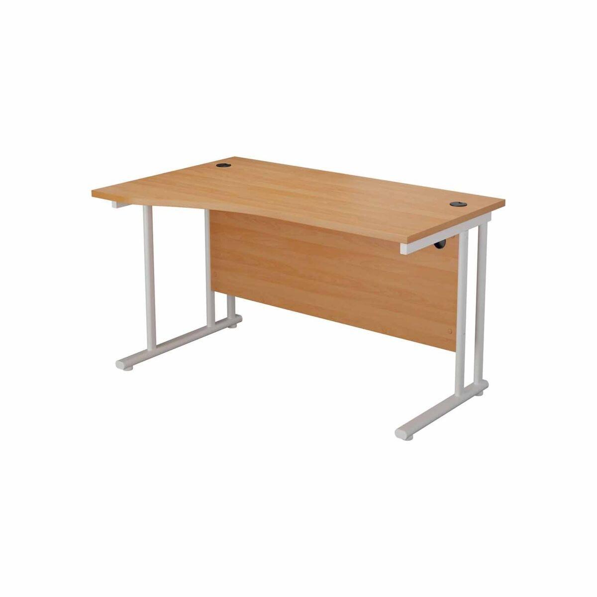 TC Office Start White Cantilever Frame Left Hand Wave Desk 1600x1000mm