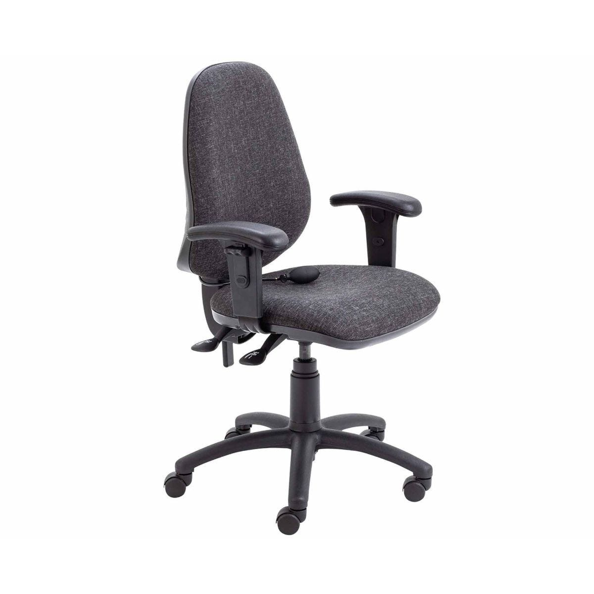TC Office Calypso Twin Lever Ergonomic Chair with Lumber Pump and Height Adjustable Arms Charcoal