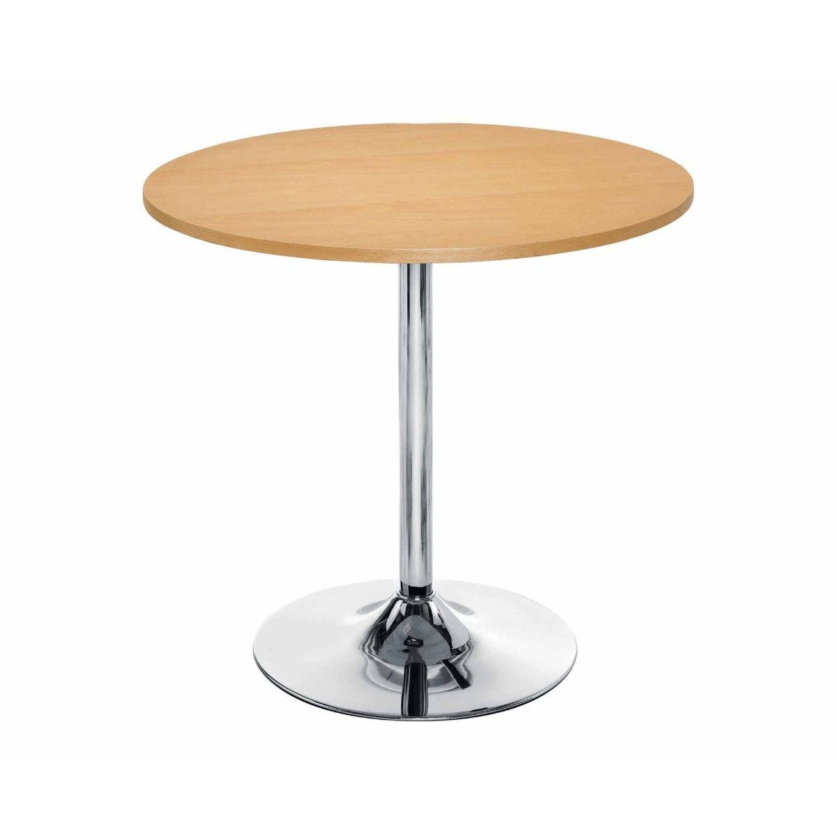TC Office Ellipse Circular Table with Chrome Trumpet Base 800mm Beech