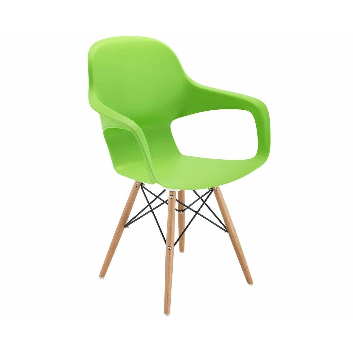 TC Office Ariel 2 Retro Chair with Wooden and Wire Base Green