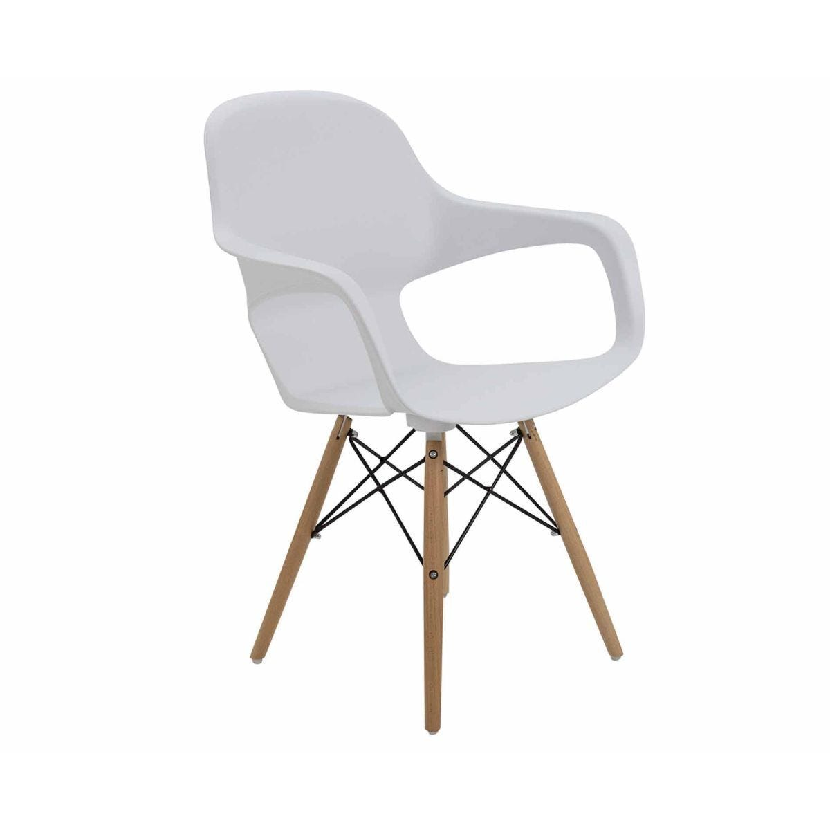 TC Office Ariel 2 Retro Chair with Wooden and Wire Base White