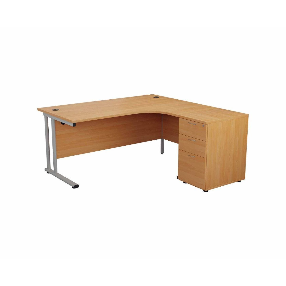 TC Office Start Silver Cantilever Frame Left Hand Crescent Desk with High Pedestal 1600x1200mm