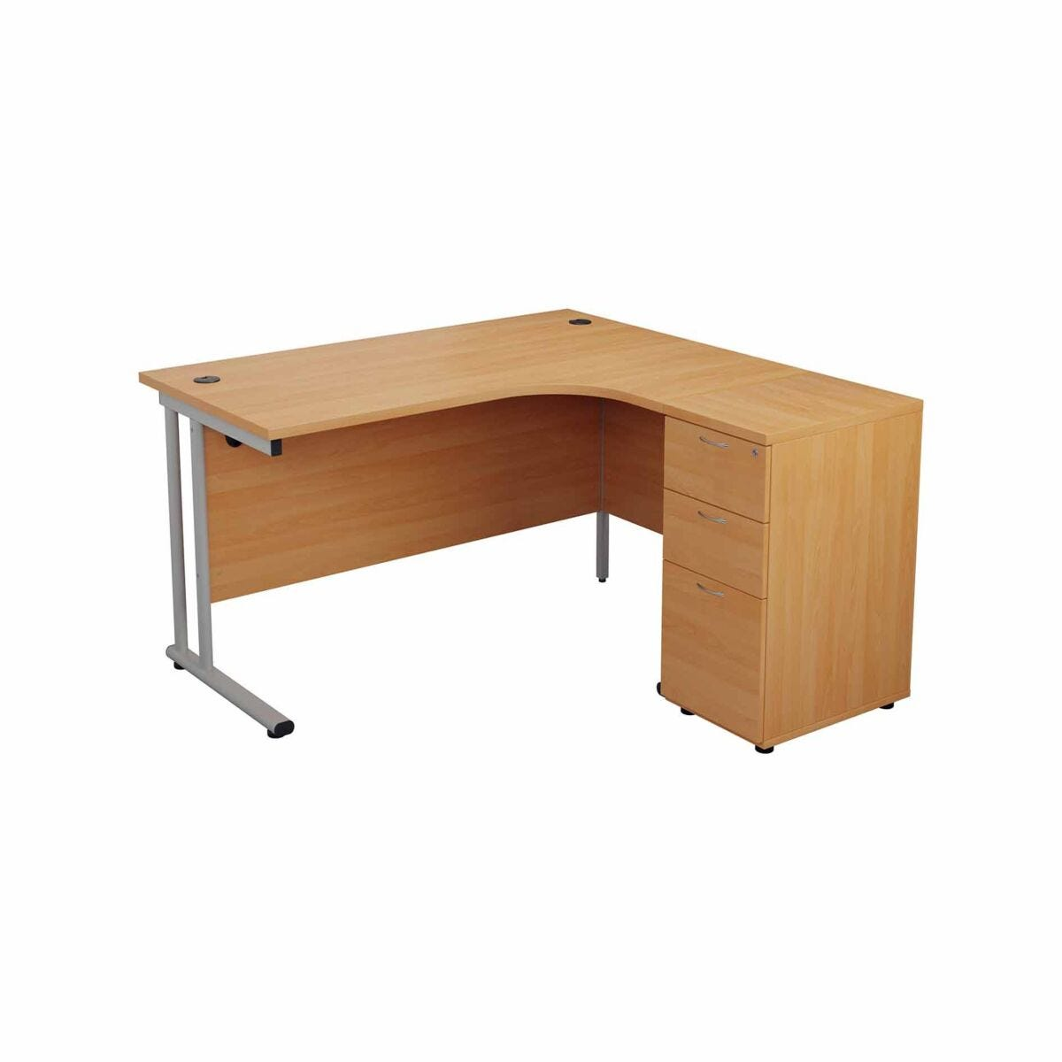 TC Office Start Silver Cantilever Frame Right Hand Crescent Desk with High Pedestal 1600x1200mm
