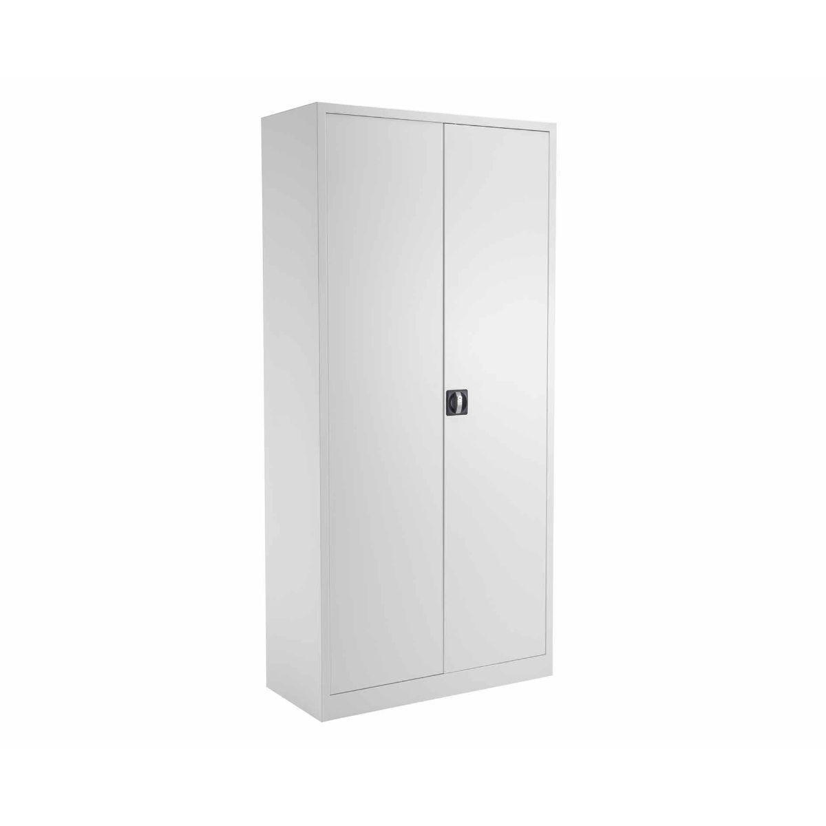 TC Office Talos Double Lockable Door Steel Cupboard with 4 Shelves 1950mm Height White