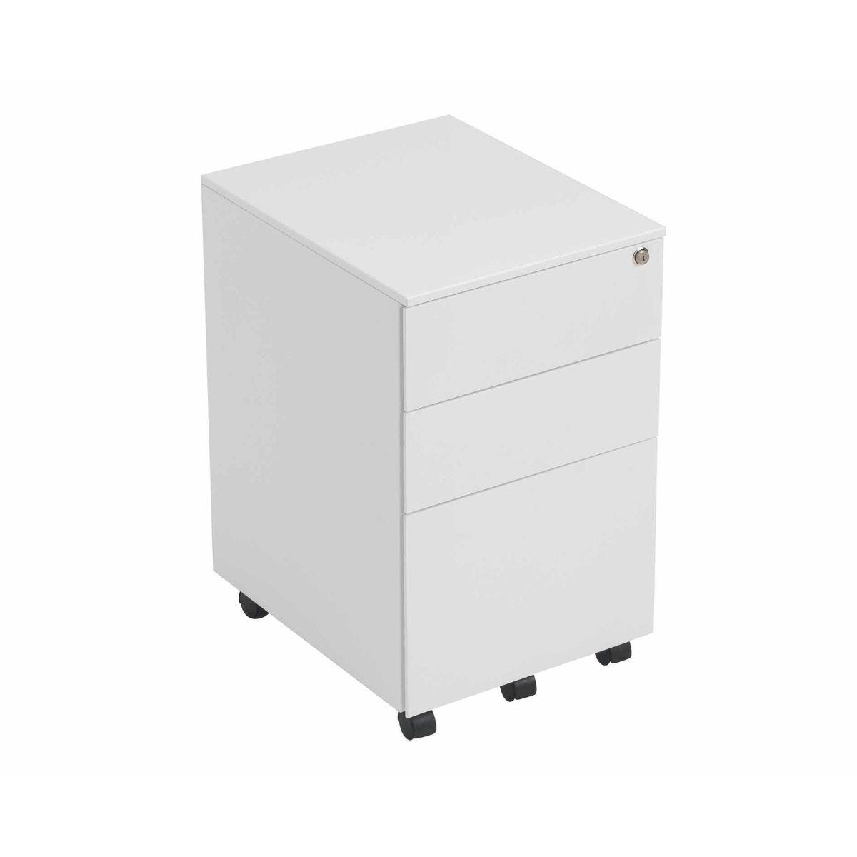 TC Office Talos Steel 3 Drawer Mobile Pedestal with Filing Drawer White