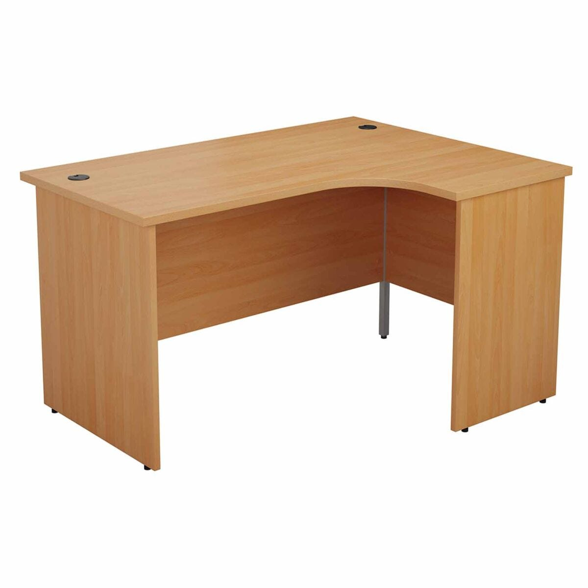 TC Office Right Hand Crescent Desk with Panel End Legs and Pedestal 1800 x 1200mm