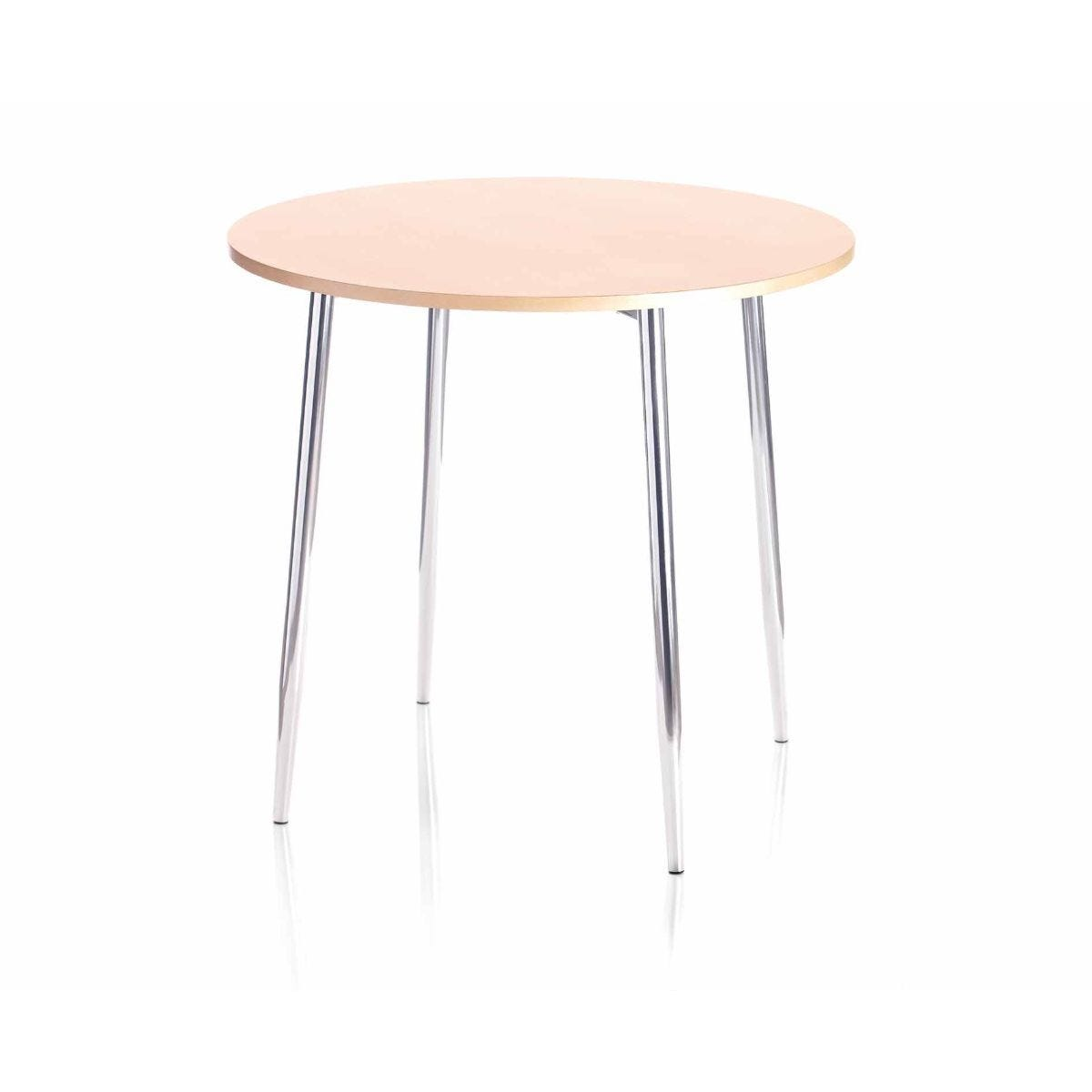 TC Office Ellipse Circular Table with Chrome Legs 800mm Beech
