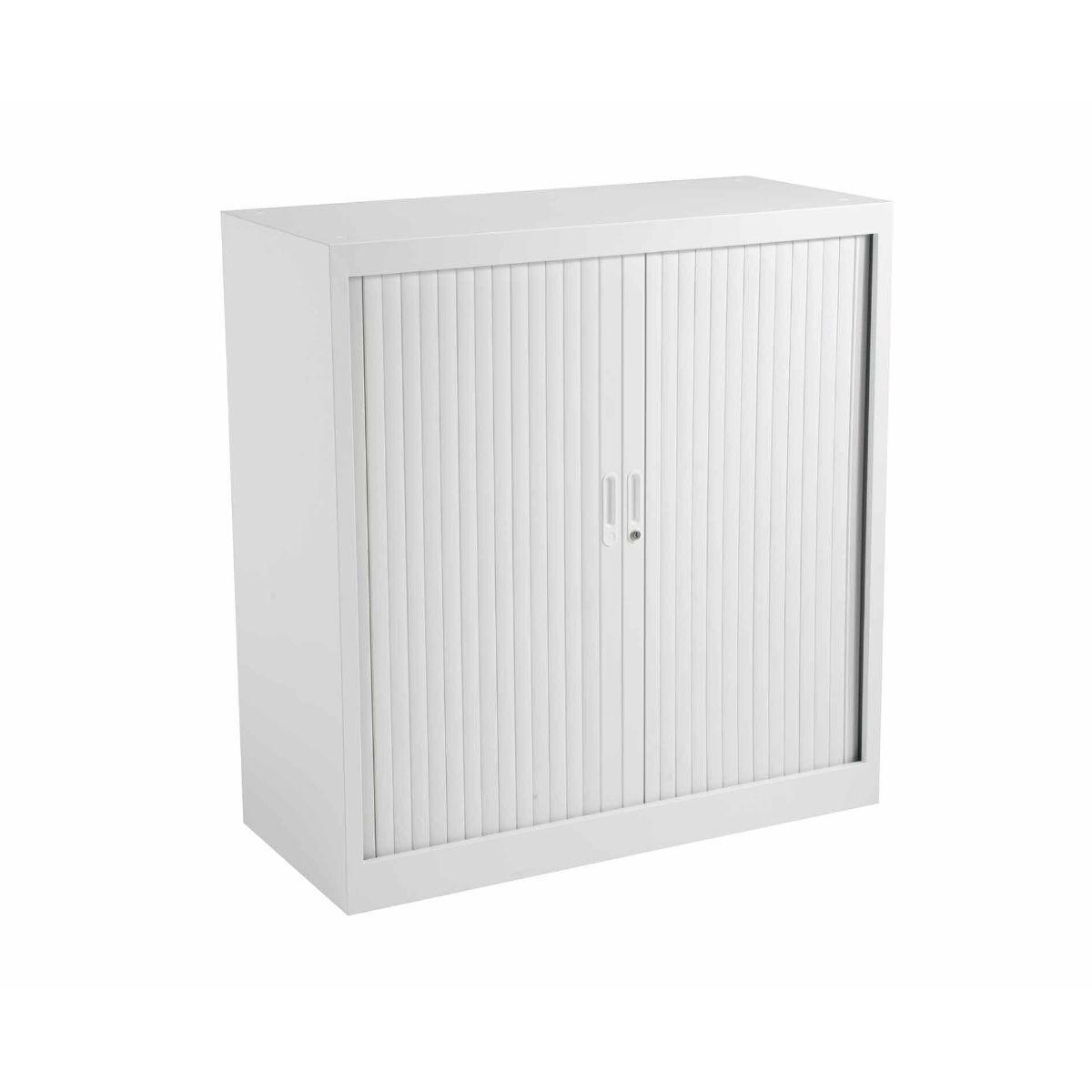 TC Office Talos Sliding Lockable Door Tambour Unit with 2 Shelves 1050mm Height White