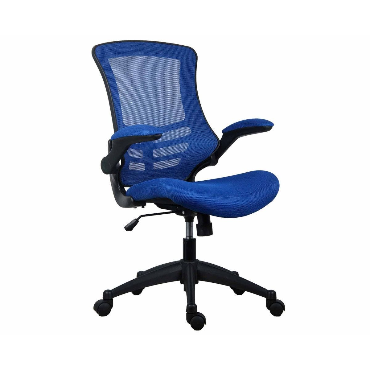 TC Office Marlos Mesh Task Chair with Folding Arms Blue