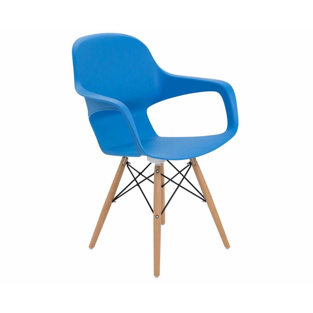 TC Office Ariel 2 Retro Chair with Wooden and Wire Base Blue