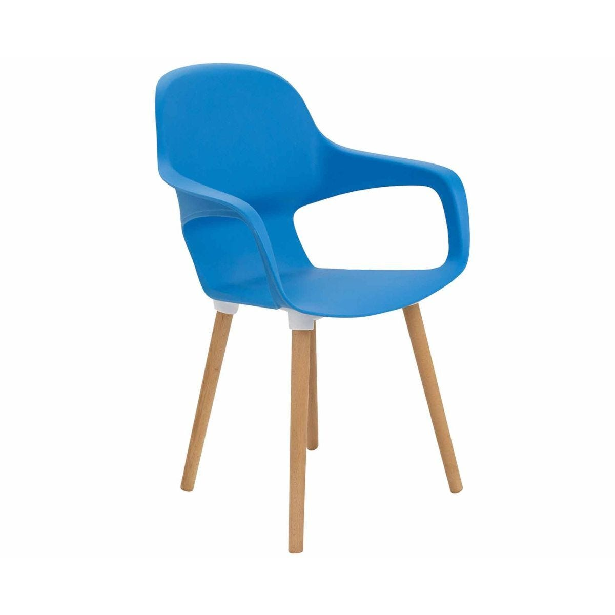 TC Office Ariel 2 Retro Chair with Wooden Round Legs Blue